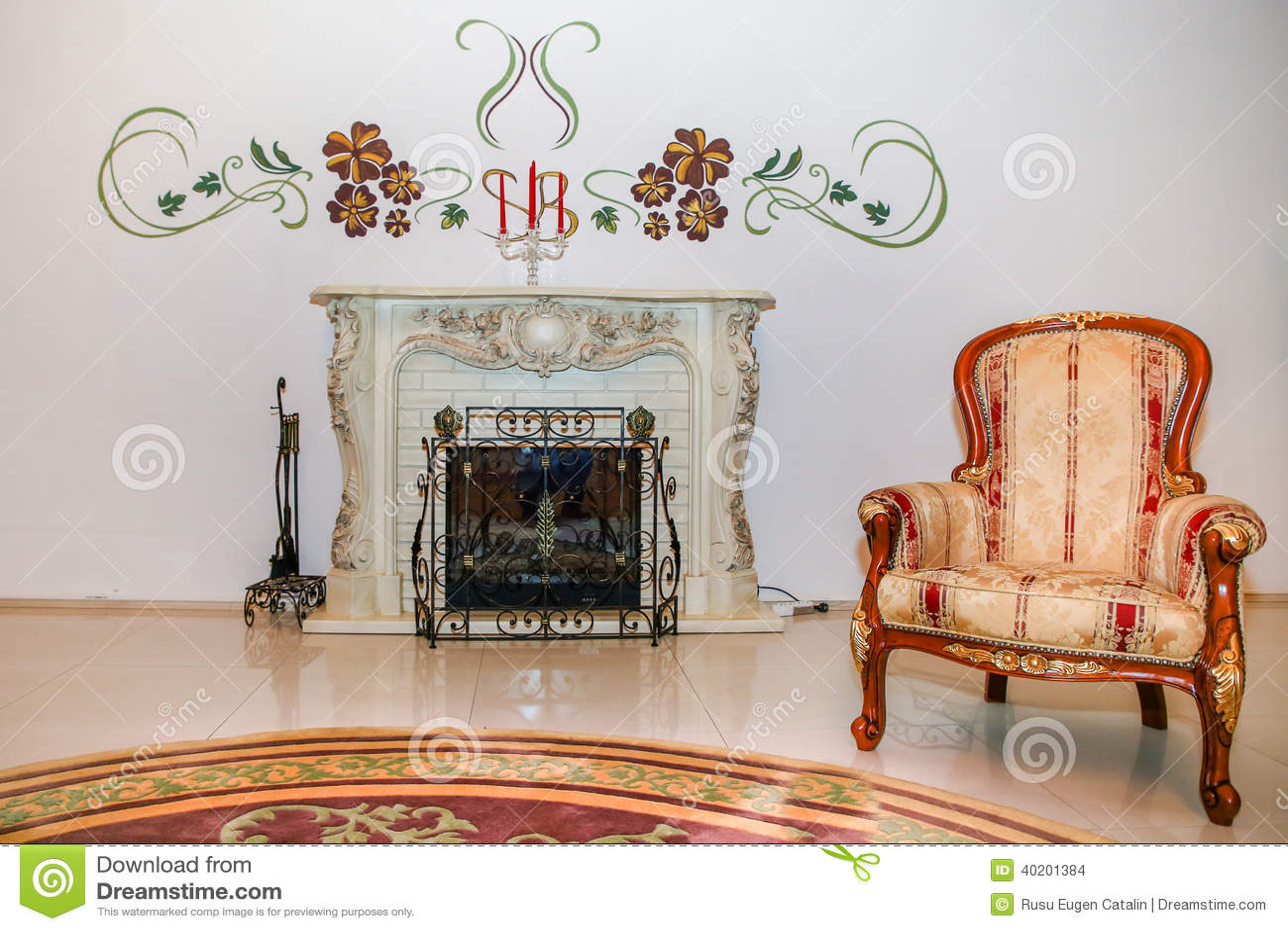 fauteuil de vintage pr s de la chemin e photo stock image 40201384. Black Bedroom Furniture Sets. Home Design Ideas