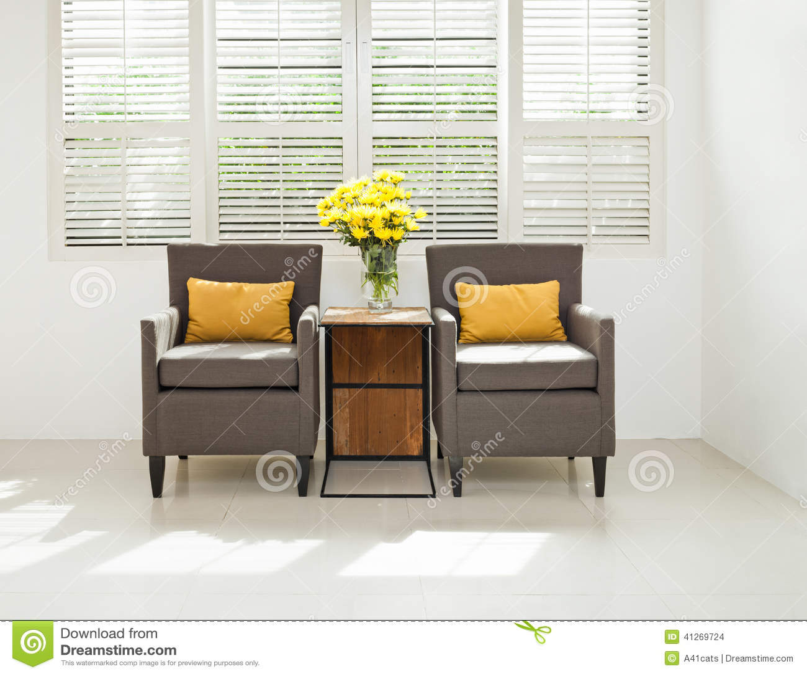 Fauteuil Gris De Sofa Dans L\'arrangement Simple Photo stock - Image ...