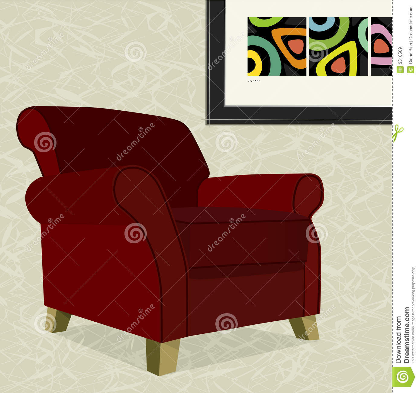 fauteuil rouge de velours images libres de droits image 3510569. Black Bedroom Furniture Sets. Home Design Ideas