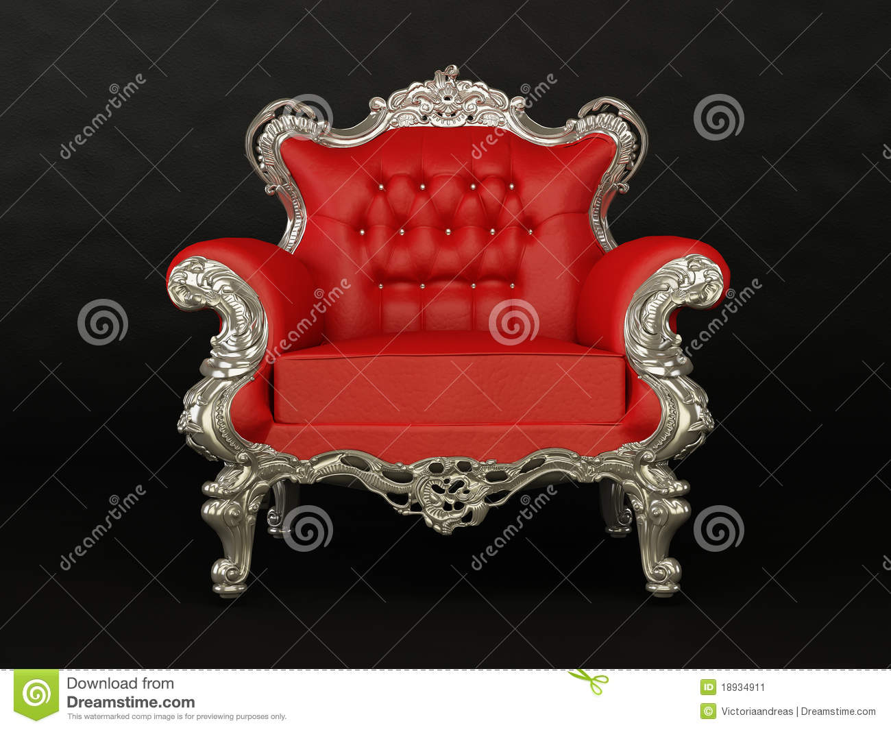 fauteuil rouge luxueux sur le fond noir image stock image 18934911. Black Bedroom Furniture Sets. Home Design Ideas