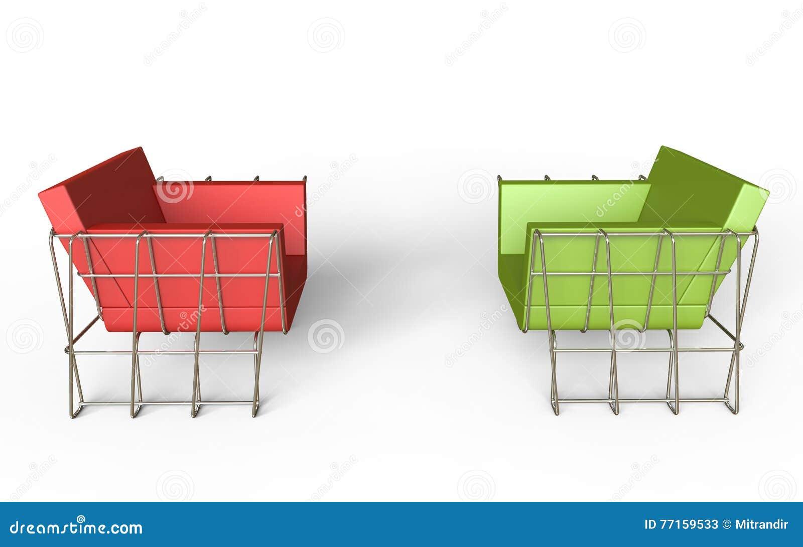Fauteuils modernes rouges et verts