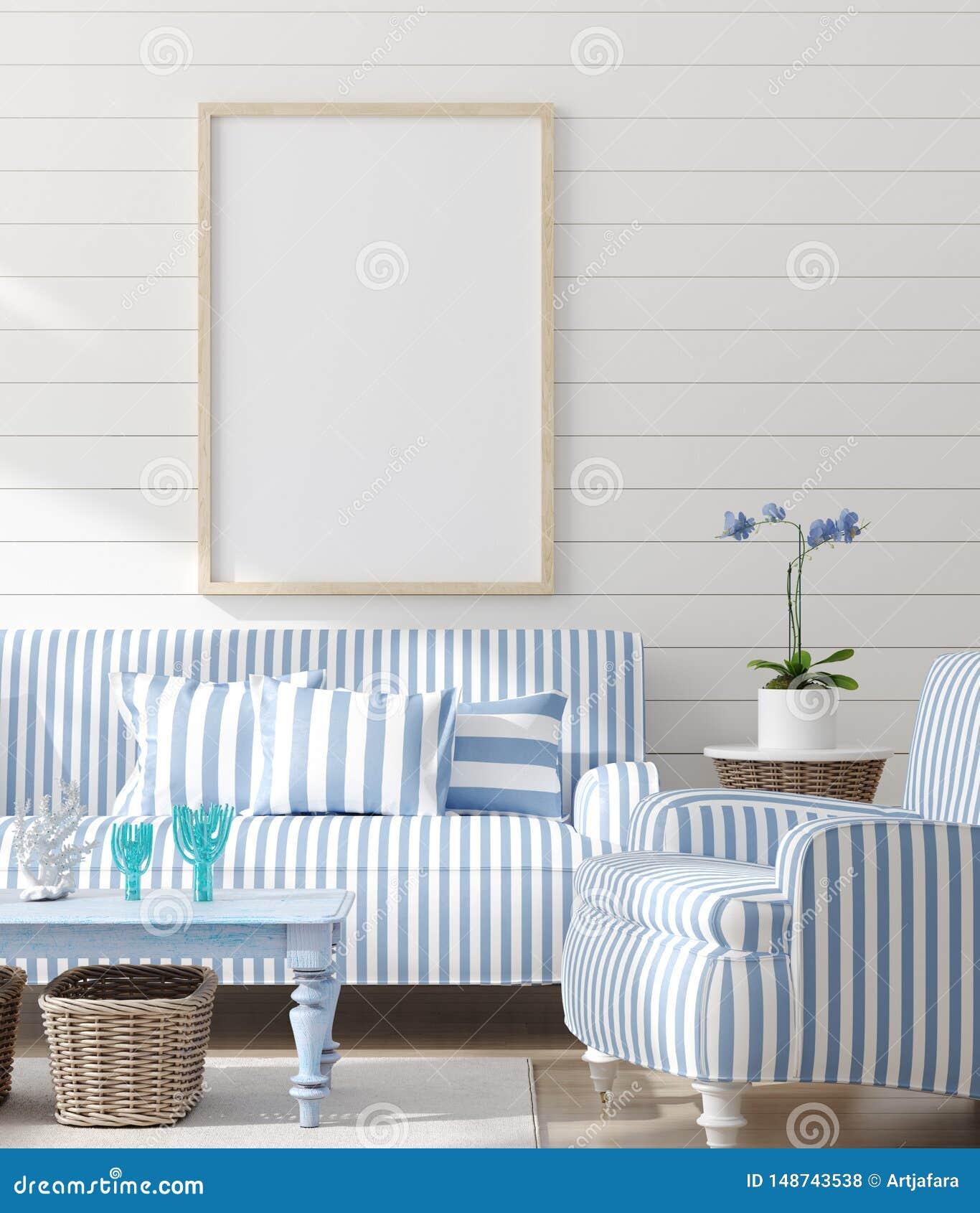 Faux cadre haut dans l int?rieur de chambre ? coucher, pi?ce marine avec le d?cor de mer et meubles, style c?tier