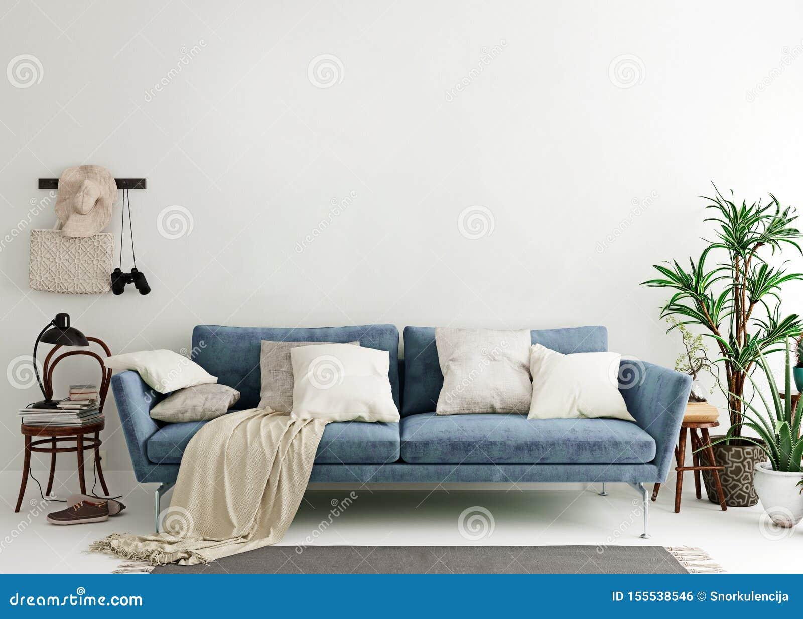 Faux Mur Haut à L\'arrière-plan Intérieur Moderne Bleu En ...