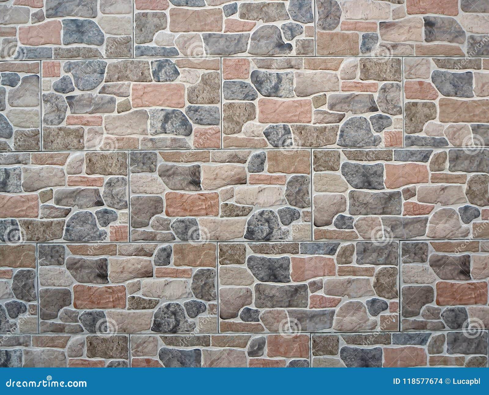 Faux Stone Wall Cladding For Exterior Facades Or Fences Stock Photo ...