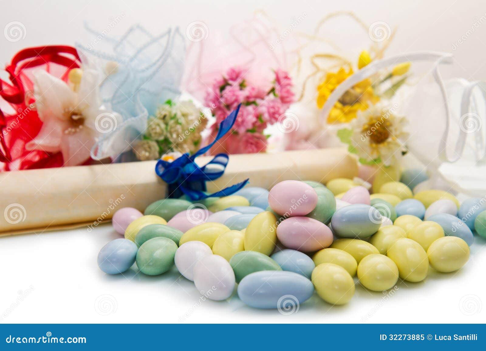 Faveur colorée différente de sucrerie