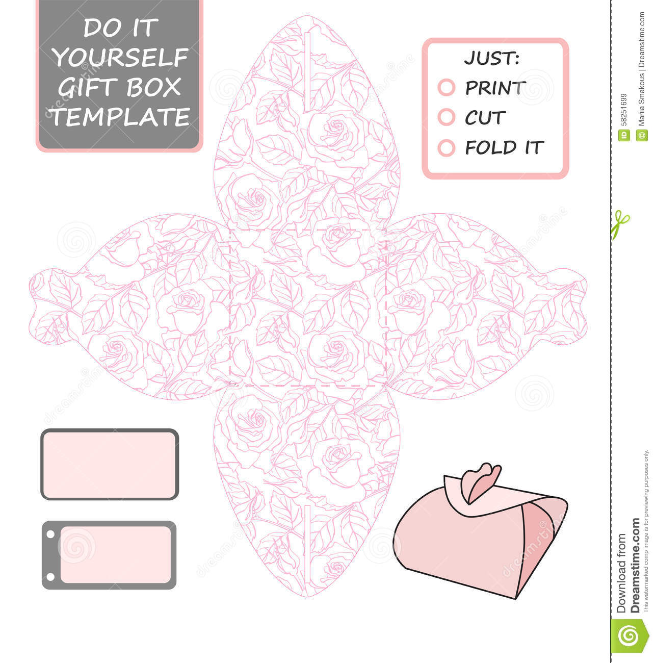 Favor, Gift Box Die Cut. Box Template With Rose Pattern. Royalty Free Stock  Gift Box Template Free
