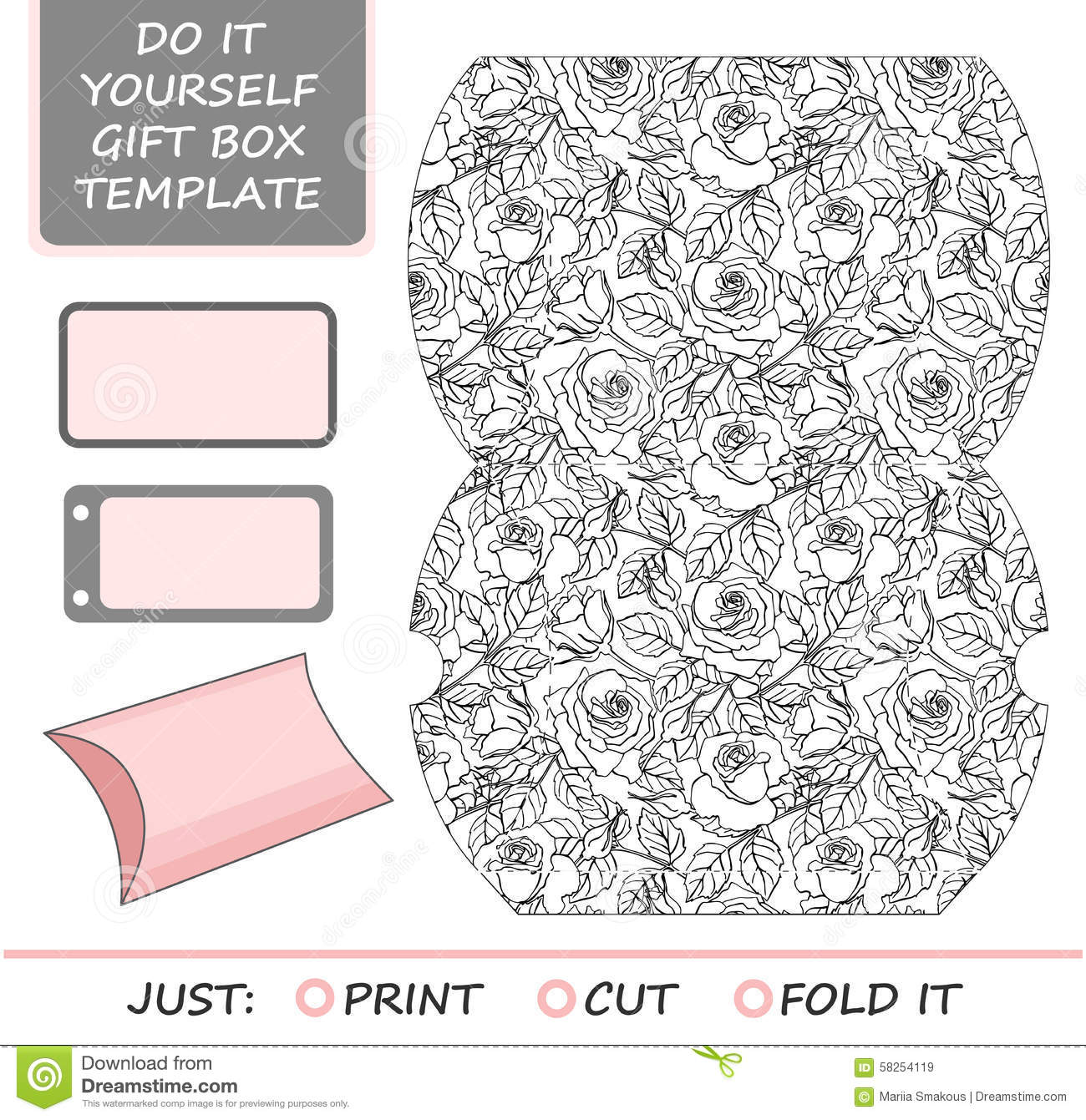 Favor gift box die cut box template with rose stock vector favor gift box die cut box template with rose solutioingenieria Images