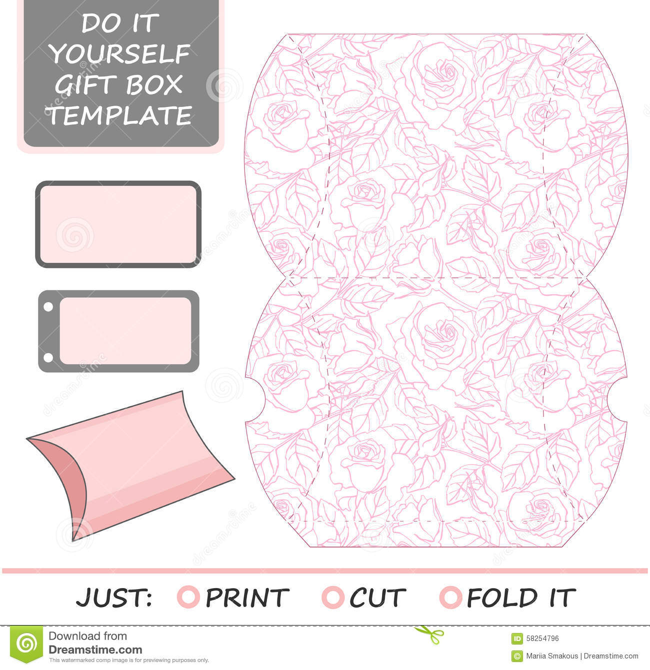Favor, gift box die cut. Box template with rose pattern. Great for ...