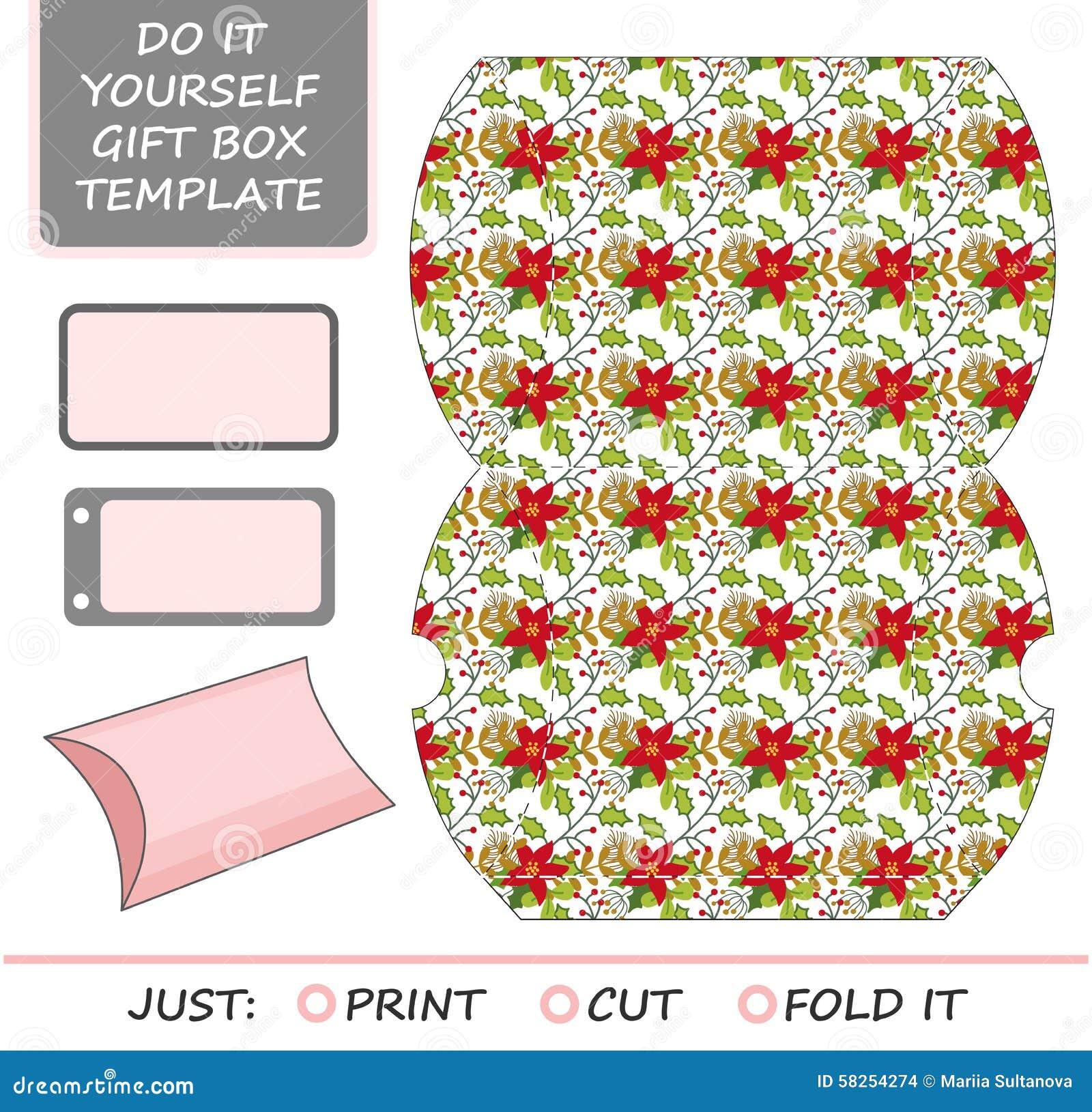 favor gift box die cut box template stock vector image  favor gift box die cut box template