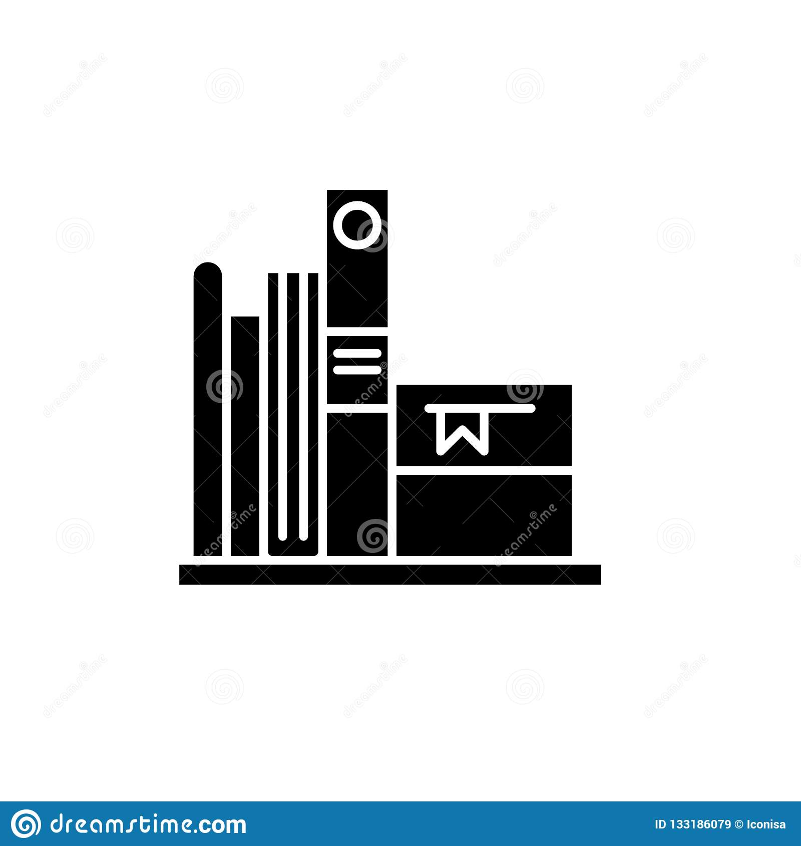 Favorite books black icon, vector sign on isolated background. Favorite books concept symbol, illustration