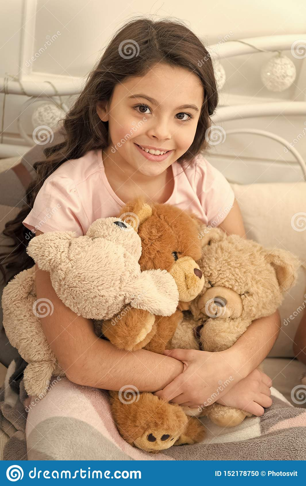 Favorite toys. Christmas gift concept. Teddy bear improve psychological wellbeing. Child small girl playful hold teddy