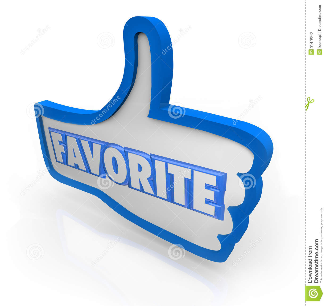 The Word Websites: Favorite Word Blue Thumb's Up Social Media Stock Photo