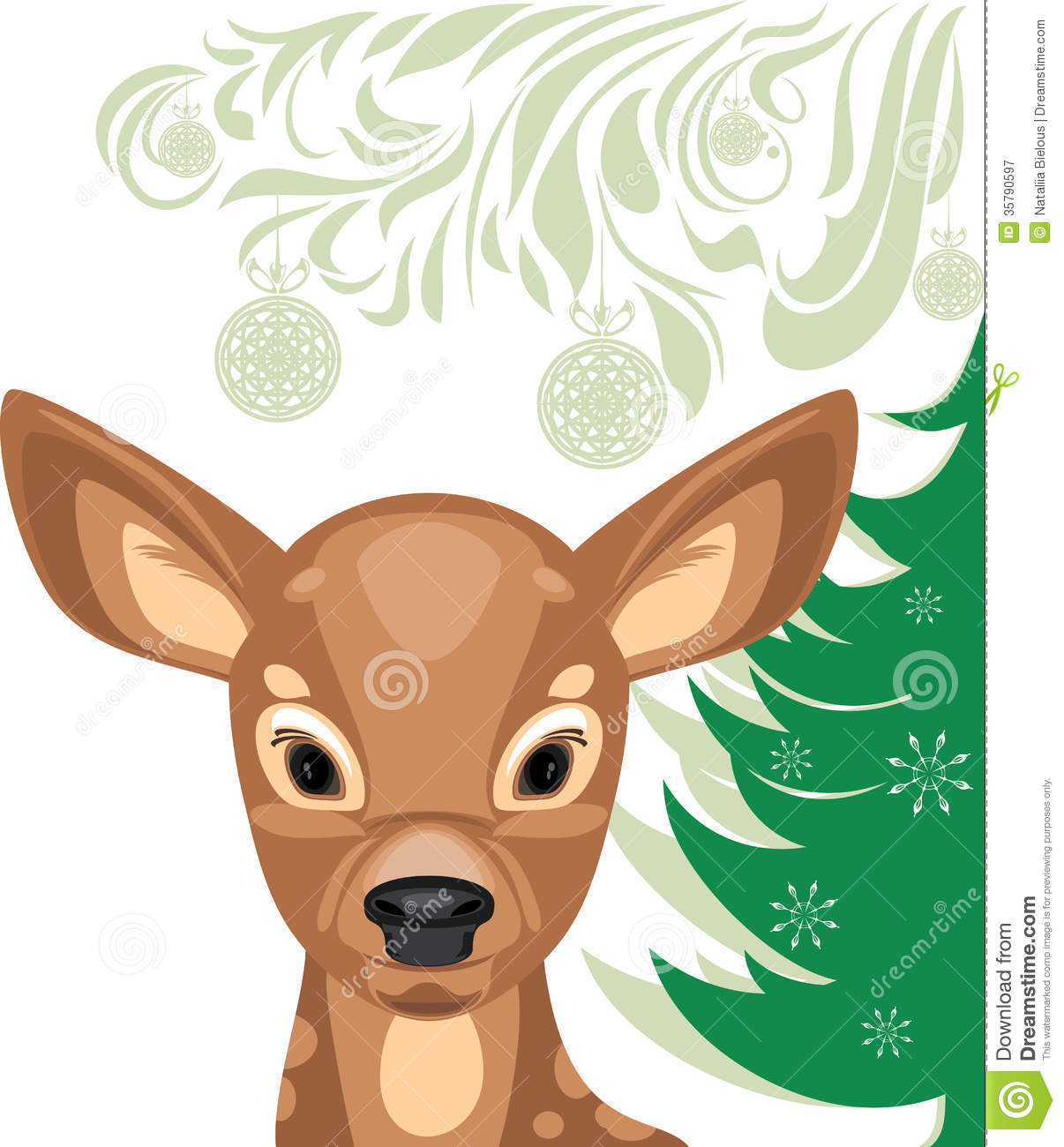 Fawn And Christmas Tree Royalty Free Stock Photography ...
