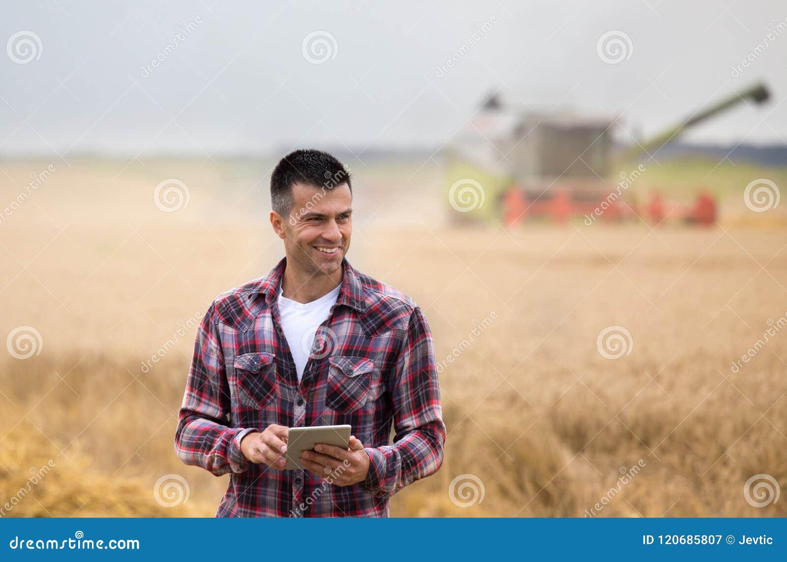 Fazendeiro com a tabuleta no campo durante a colheita