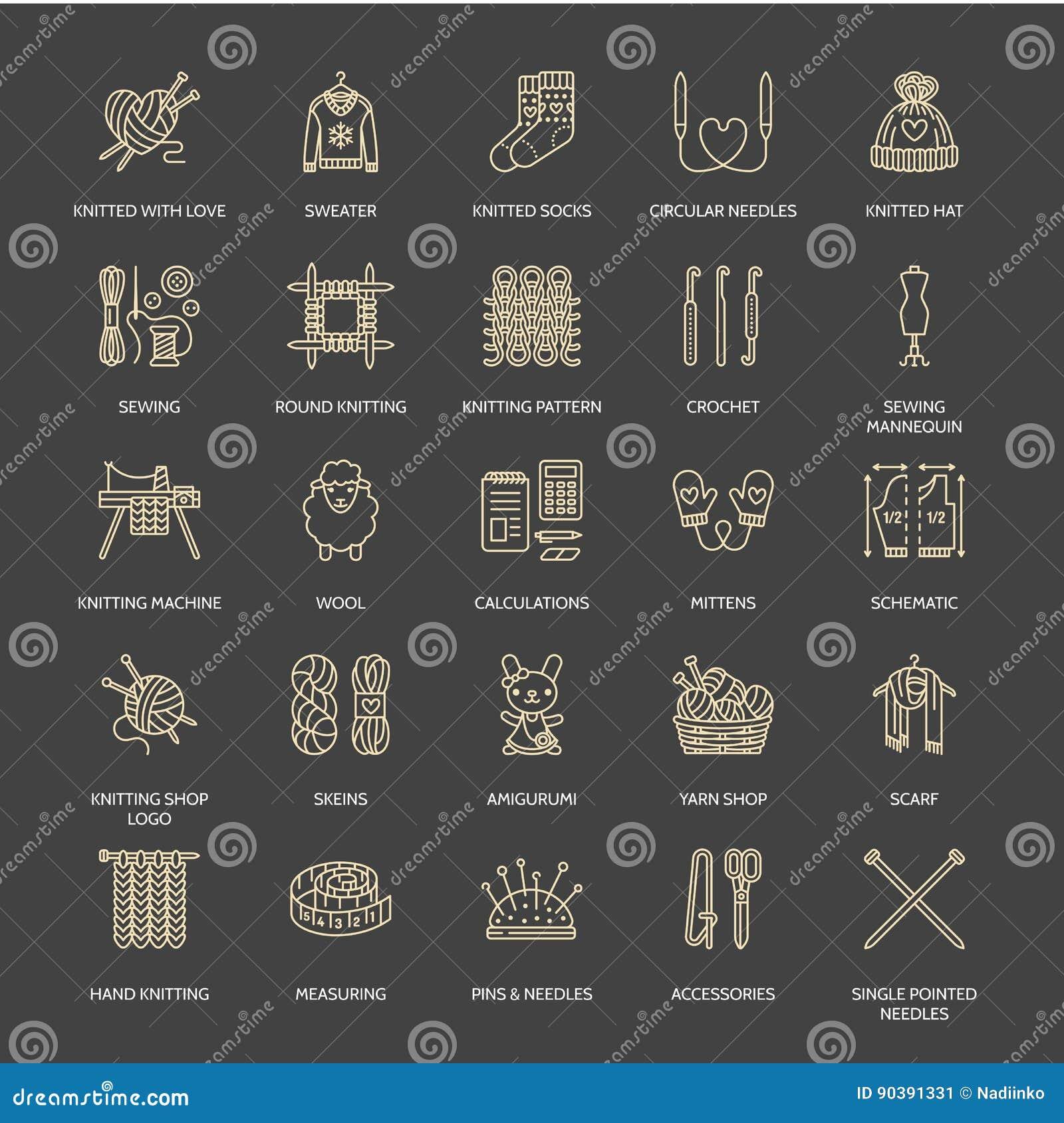Fazendo malha, fazer crochê, linha feito à mão ícones ajustados Agulha de confecção de malhas, gancho, lenço, peúgas, teste padrã