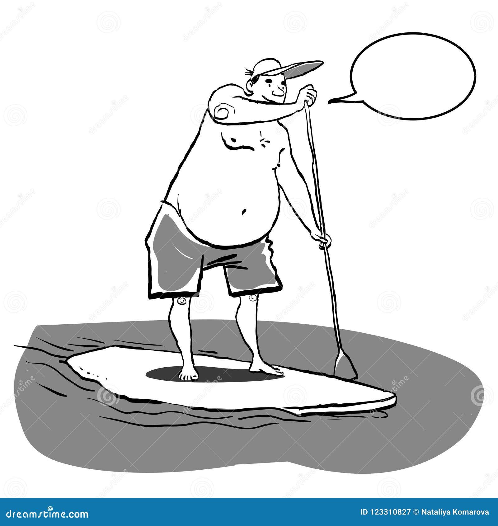 3103bafa572 Fazer gordo do homem está acima de remo na placa de pá na água no beira