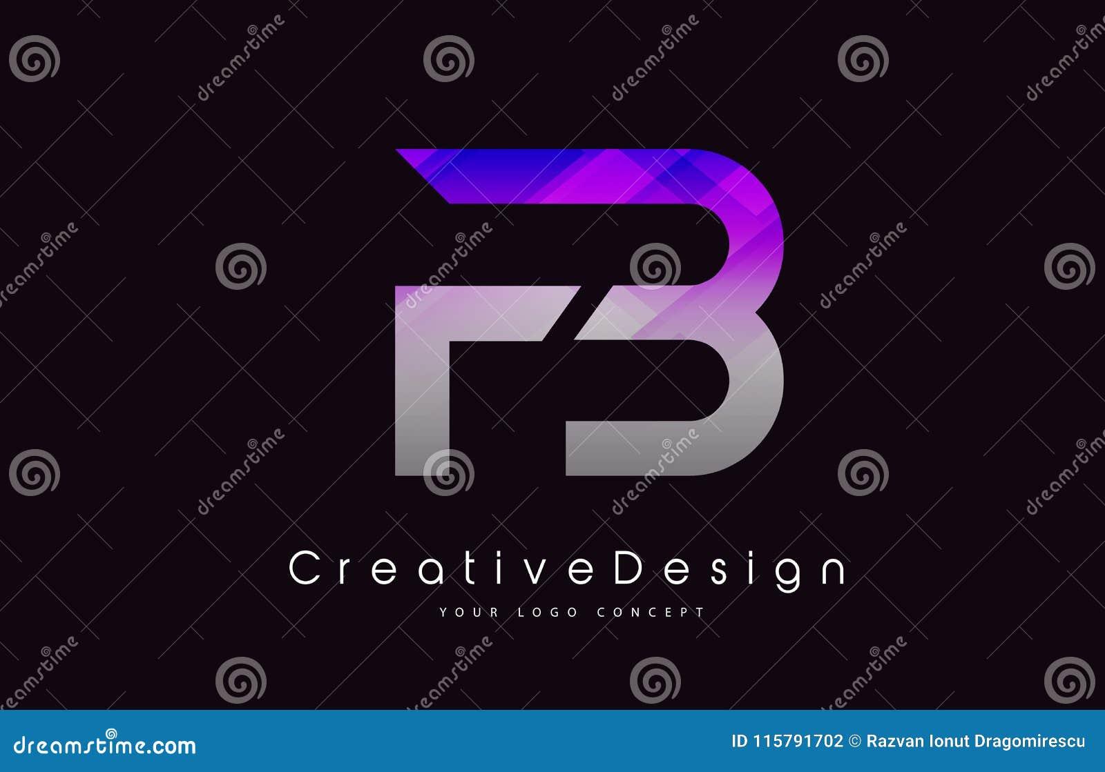 FB Brief Logo Design Purper Textuur Creatief Pictogram Moderne Lette