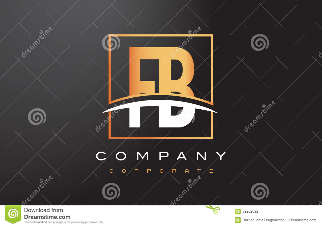 FB F B Golden Letter Logo Design With Gold Square And Swoosh  Stock