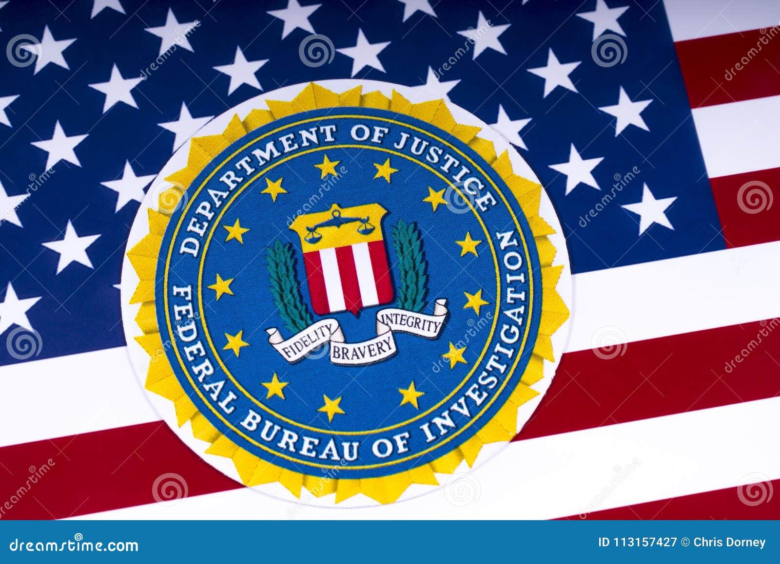 FBI Logo und die USA-Flagge