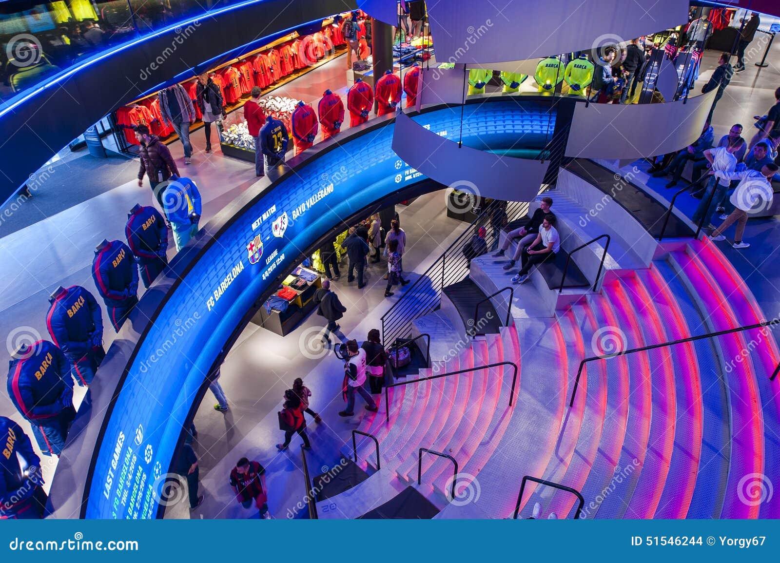 Wśrodku oficjalnego sklepu futbolu klub Barcelona barcelona obozowy fc domu  nou stadium 78452c91491