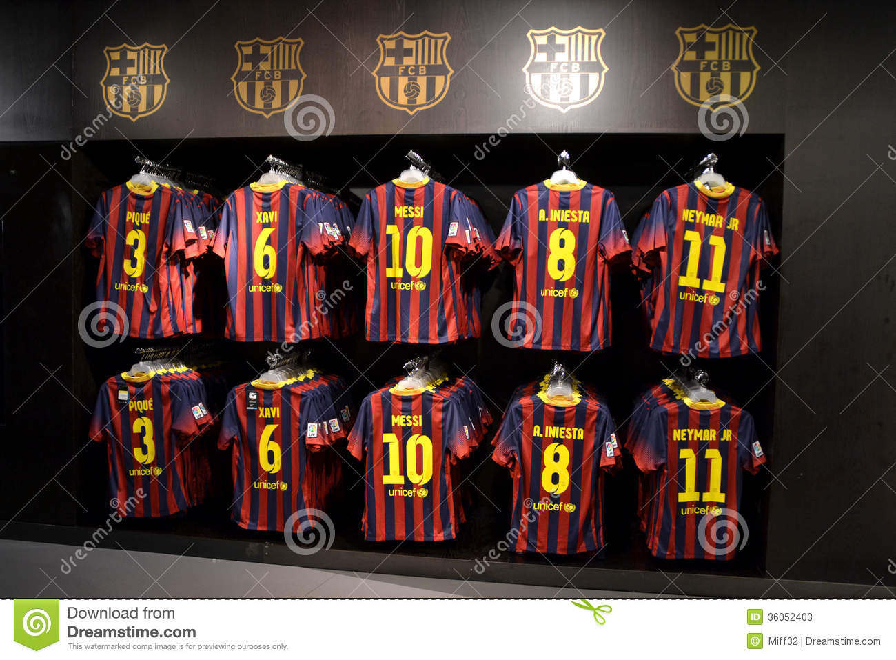 fc barcelona shirts in fc barcelona shop spain editorial stock photo image 36052403. Black Bedroom Furniture Sets. Home Design Ideas