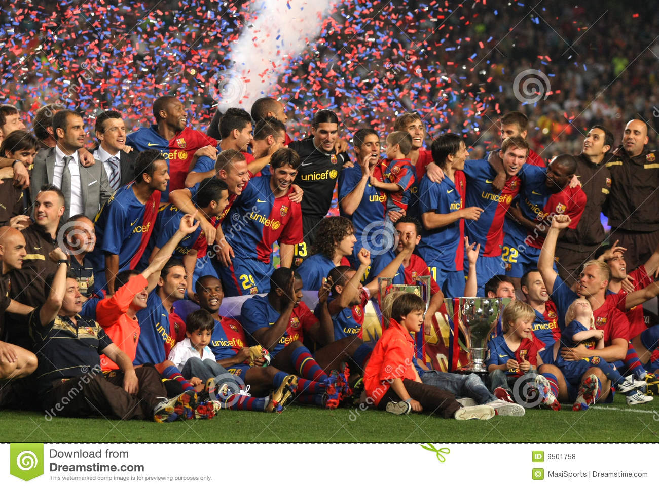 FC Barcelona team celebrate La Liga