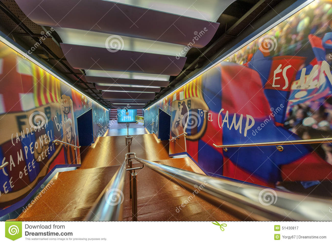 fc barcelona tunnel editorial photography  image of interior