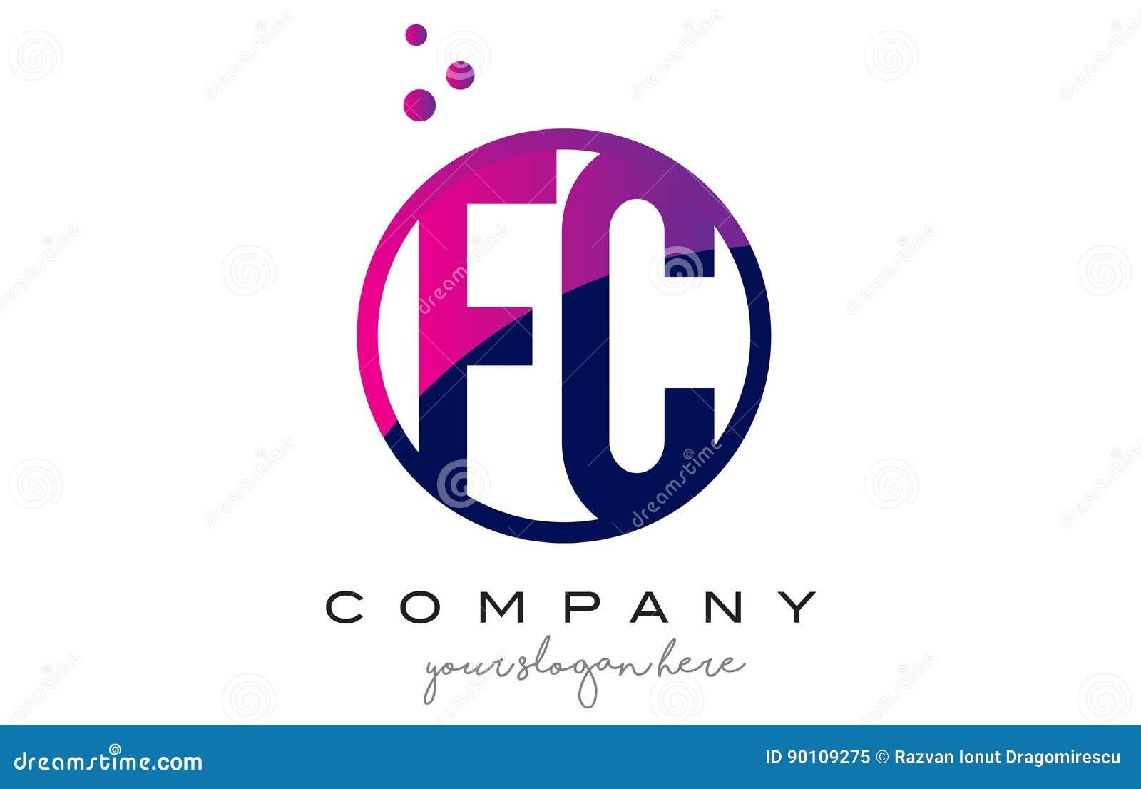Fc F C Circle Letter Logo Design With Purple Dots Bubbles Stock