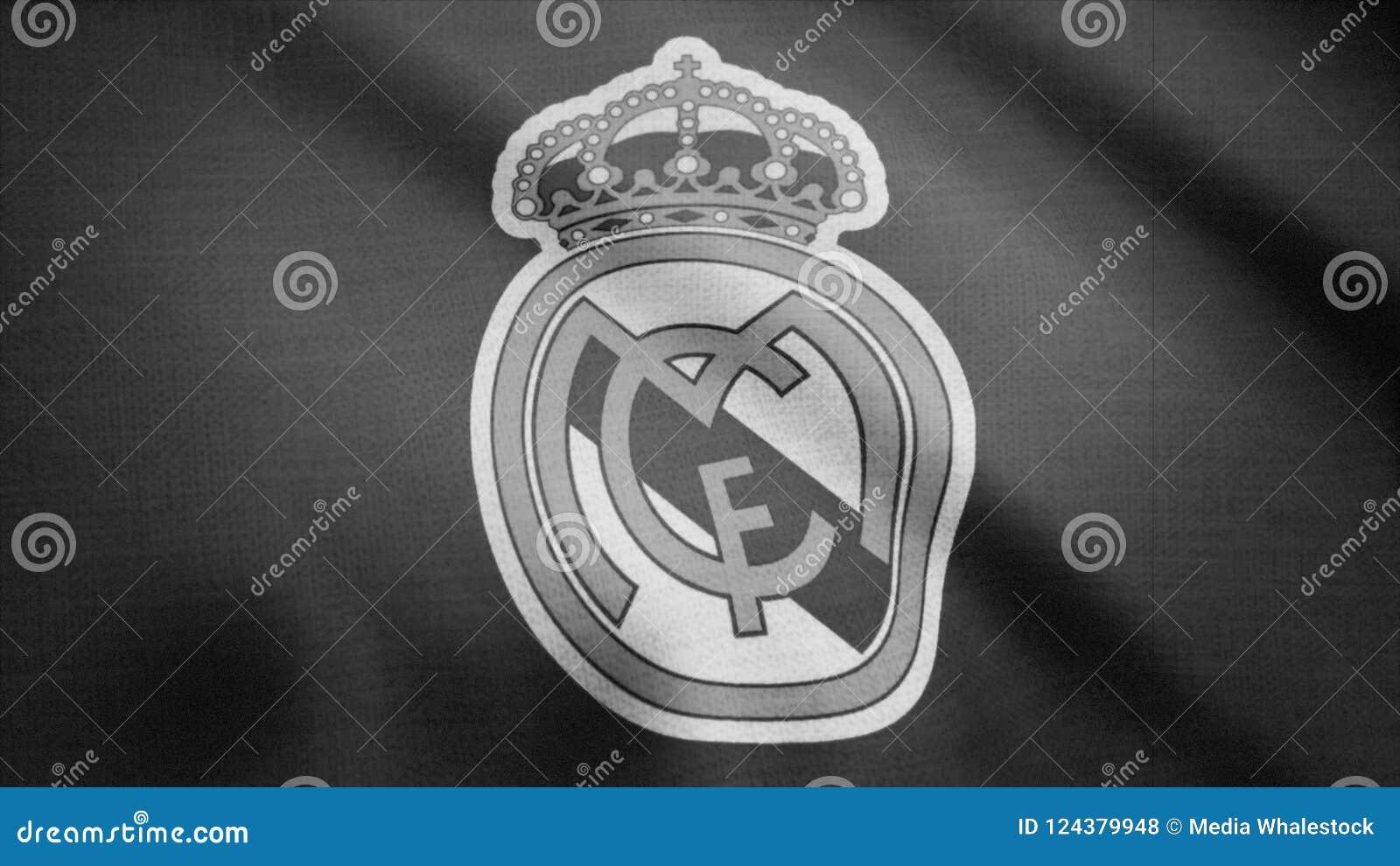 Fc Real Madrid Flag Is Waving Monochrome Tv Noise Close Up Of Waving Flag With Fc Real Madrid Football Club Logo