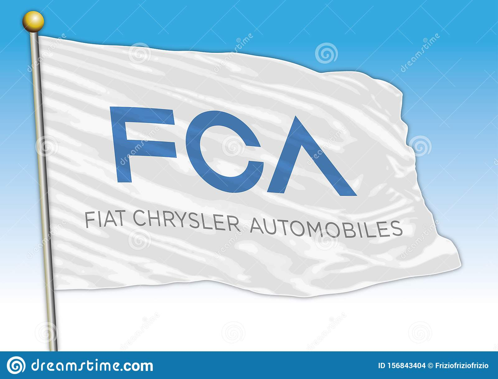 FCA Fiat Chrysler cars international group, flags with logo, illustration