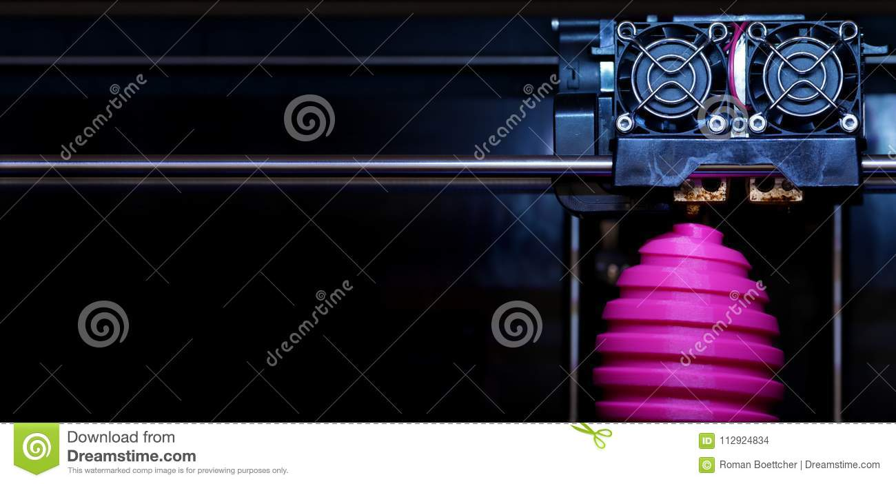 FDM 3D-printer manufacturing wound pink easter egg sculpture - front view on object and print head - panel type composition