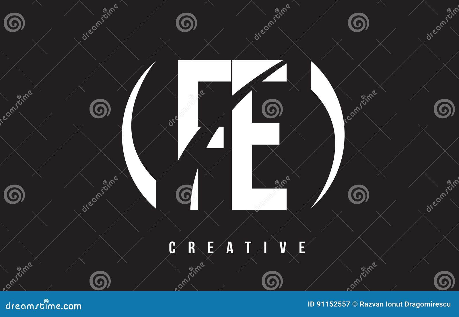 fe f e white letter logo design with black background