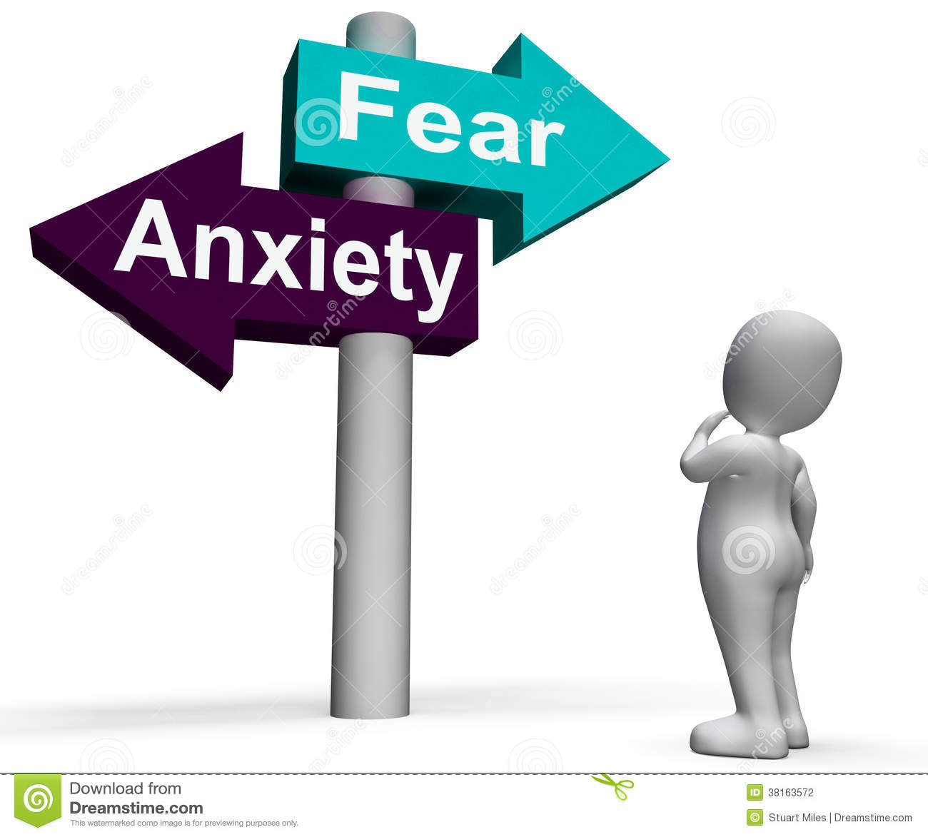Anxieties Phobias: Fear Anxiety Signpost Shows Fears And Panic Stock