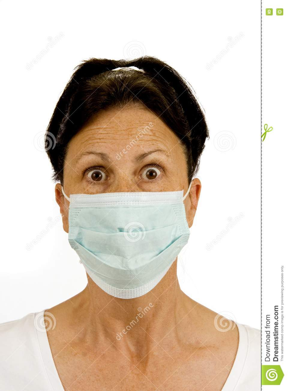 Surgical mask is used to protect from germs this woman is fearful