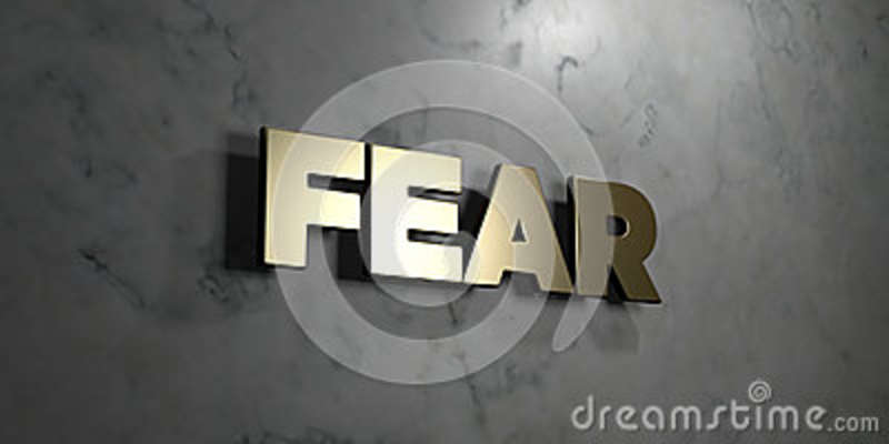 Fear - Gold sign mounted on glossy marble wall - 3D rendered royalty free stock illustration
