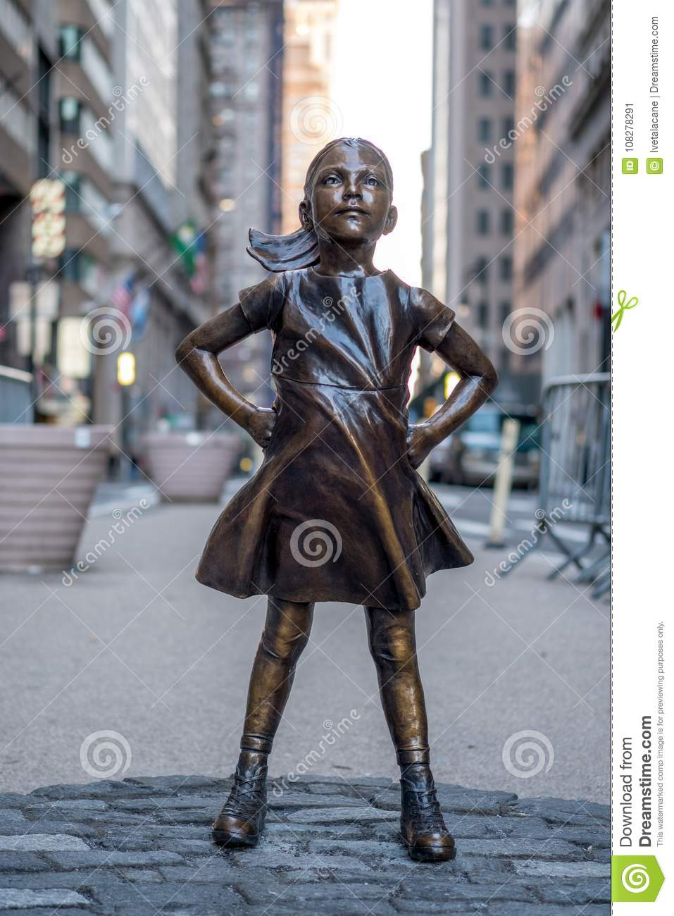 The Fearless Girl statue in Lower Manhattan, New York City