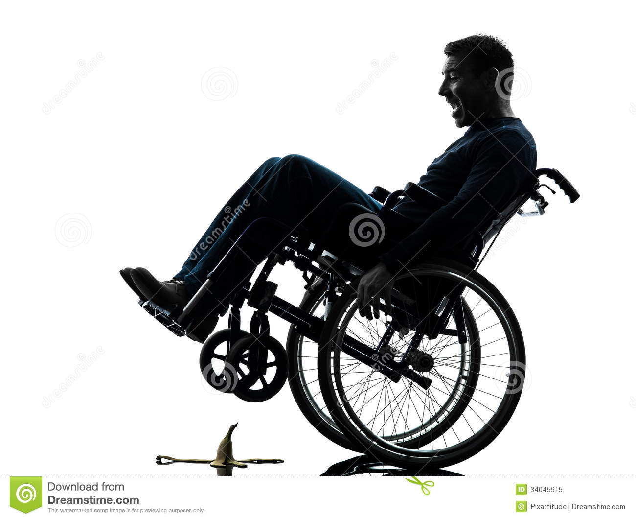 Fearless Handicapped Man In Wheelchair Silhouette Stock
