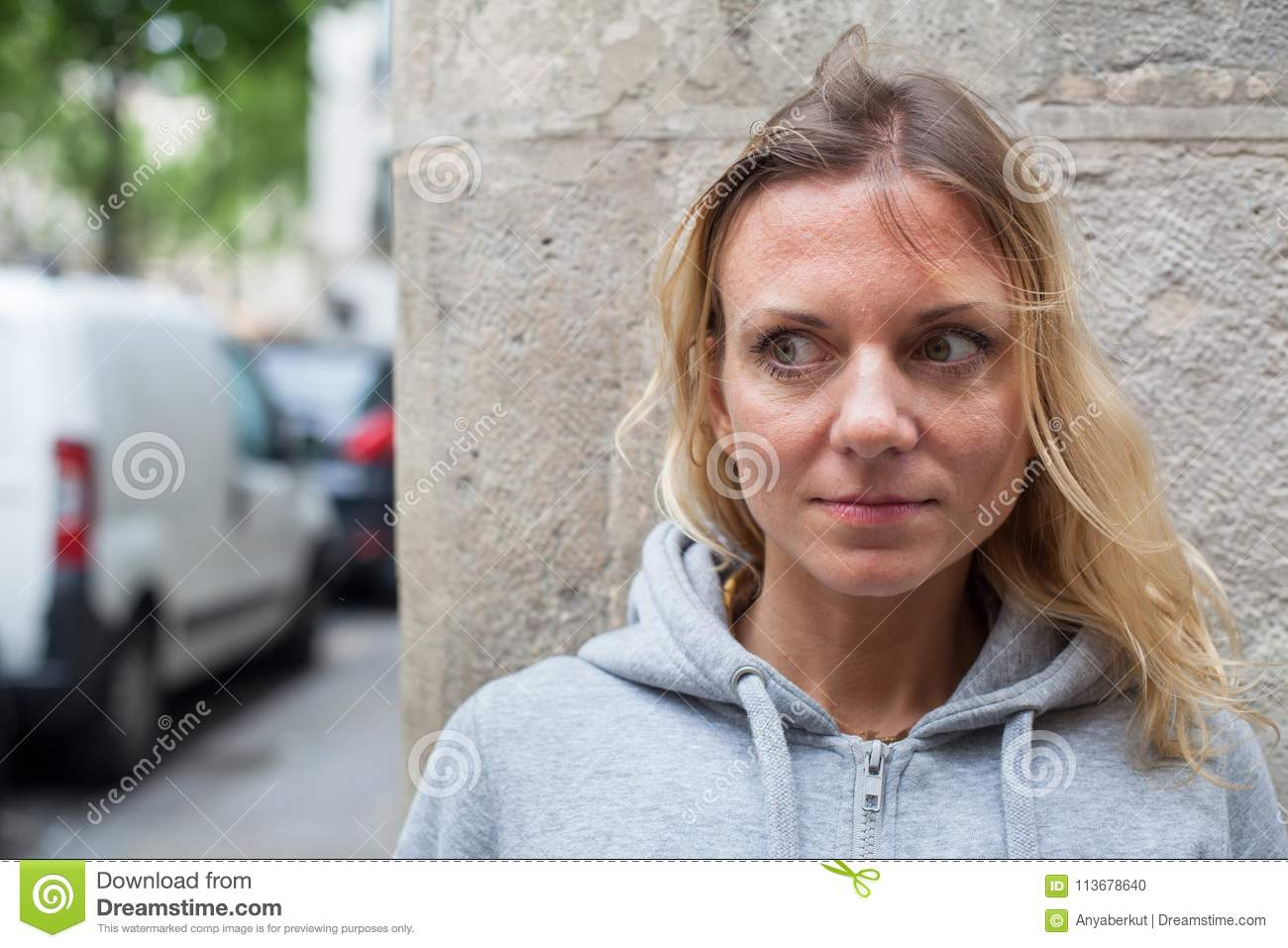Fears, scared woman on the street