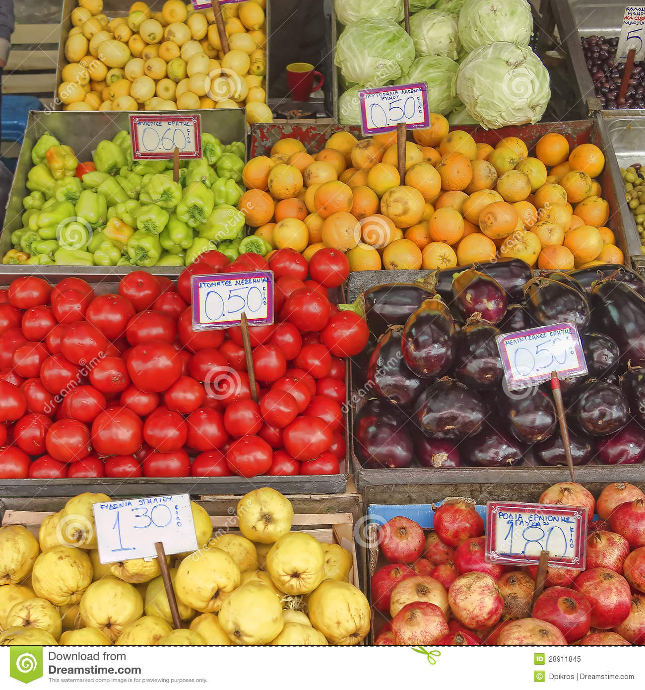 A Feast Of Fruits And Vegetables For Sale Royalty Free
