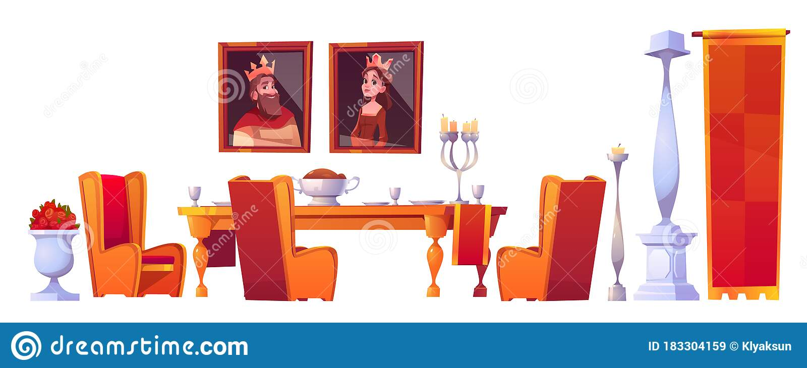 Feast Table With Food In Castle Dining Room Set Stock Vector Illustration Of Couple Castle 183304159