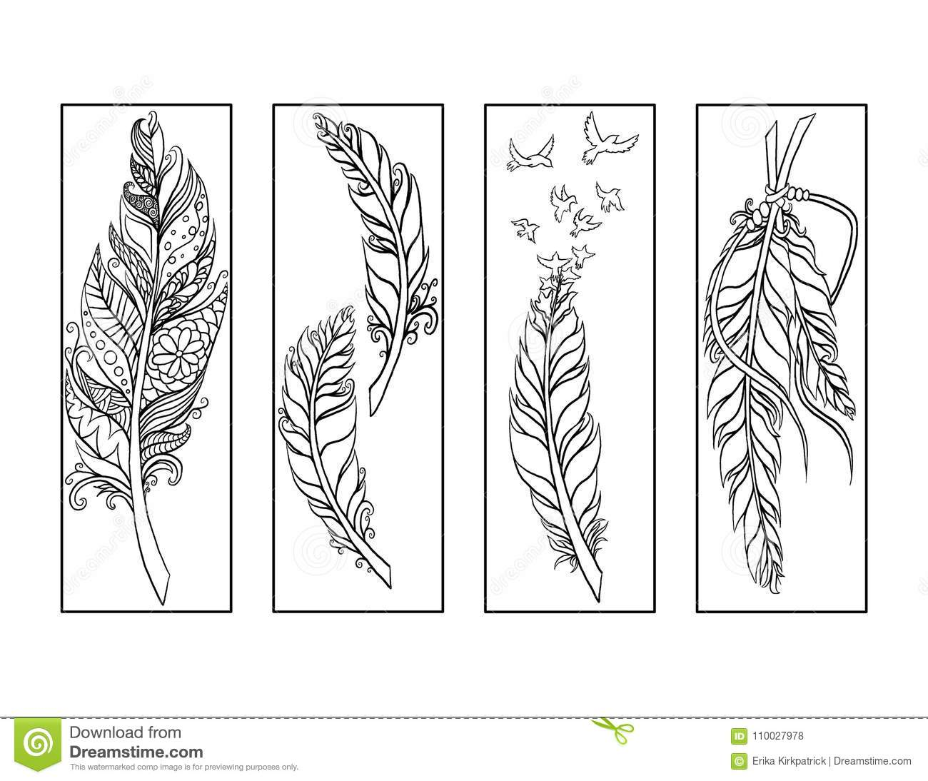 Feather Bookmarks Coloring Page Stock Illustration ...