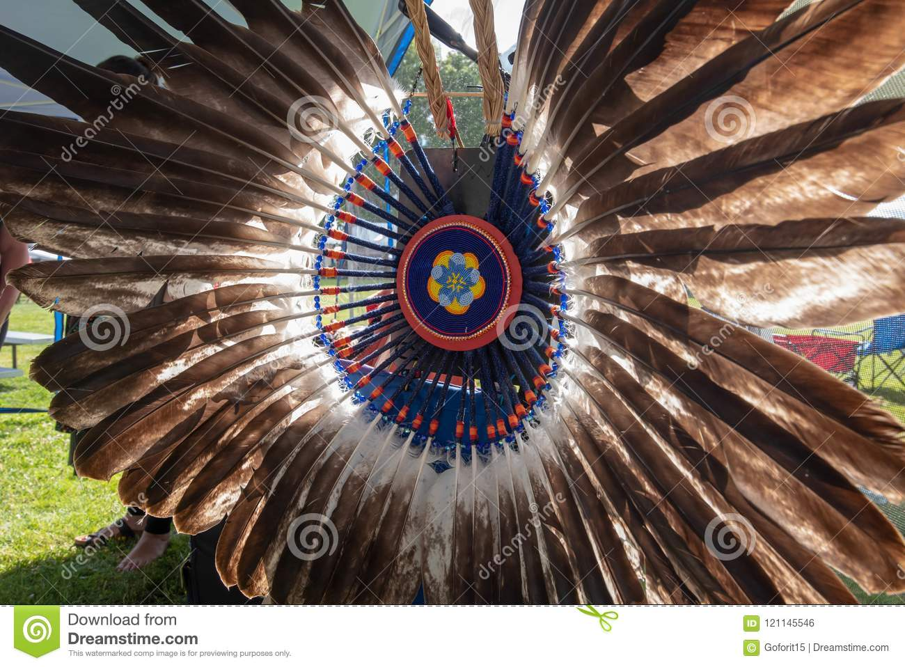 Feather Decorations At Oregon Powwow Stock Photo - Image of