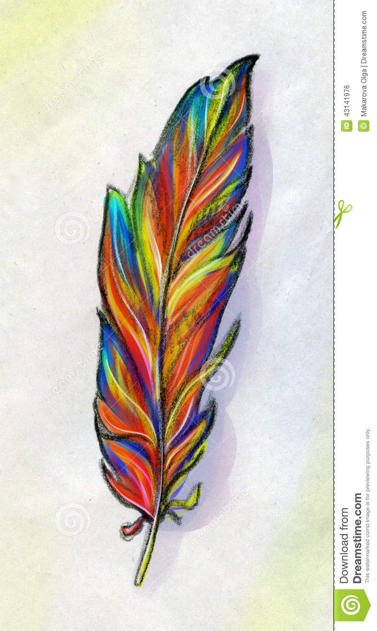 Stock Illustration Feather Fantasy Bird Hand Drawn Pencil Sketch Phoen...