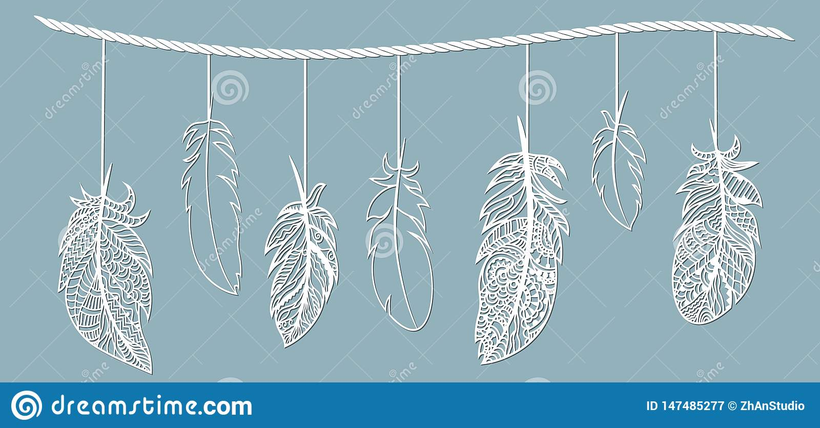 Feather. Laser cut. Feathers on a string. Template for laser cutting and Plotter. Vector illustration. Sticker. Pattern for the
