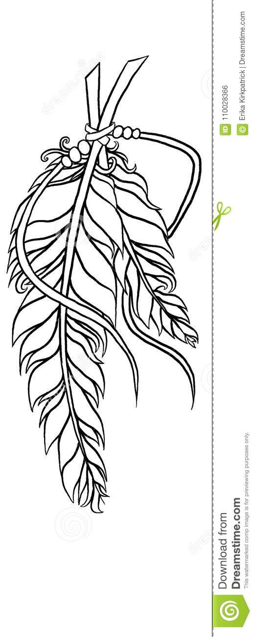 Feather Coloring Page stock illustration. Illustration of ...