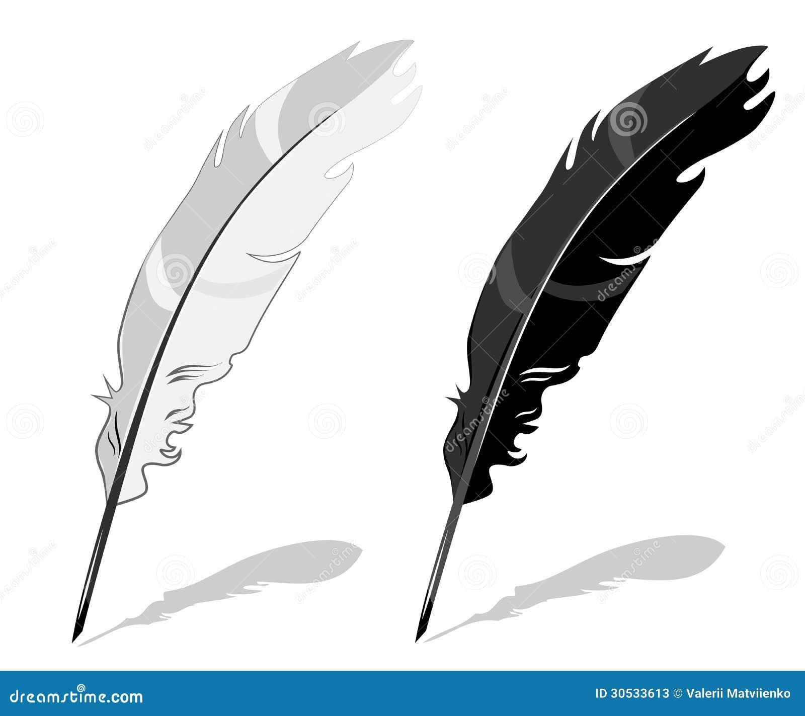 feather pen black and white stock photos image 30533613