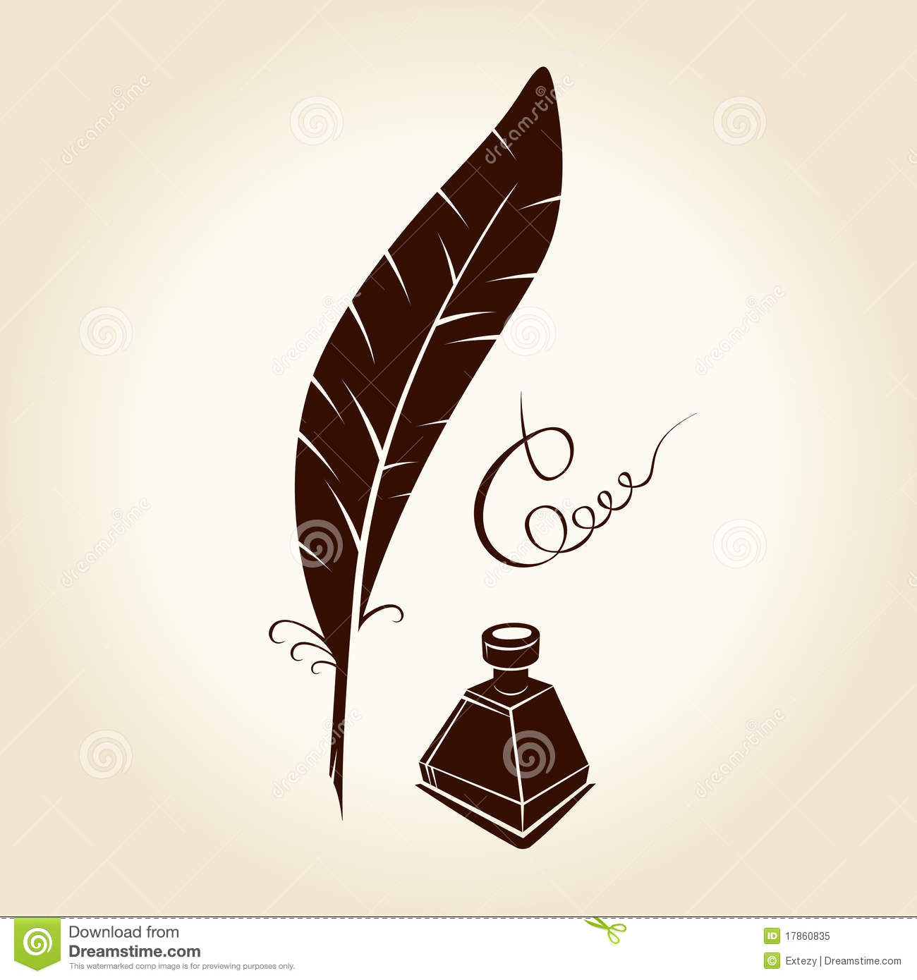 Quill And Inkwell Drawing Feather Pen Ink Callig...