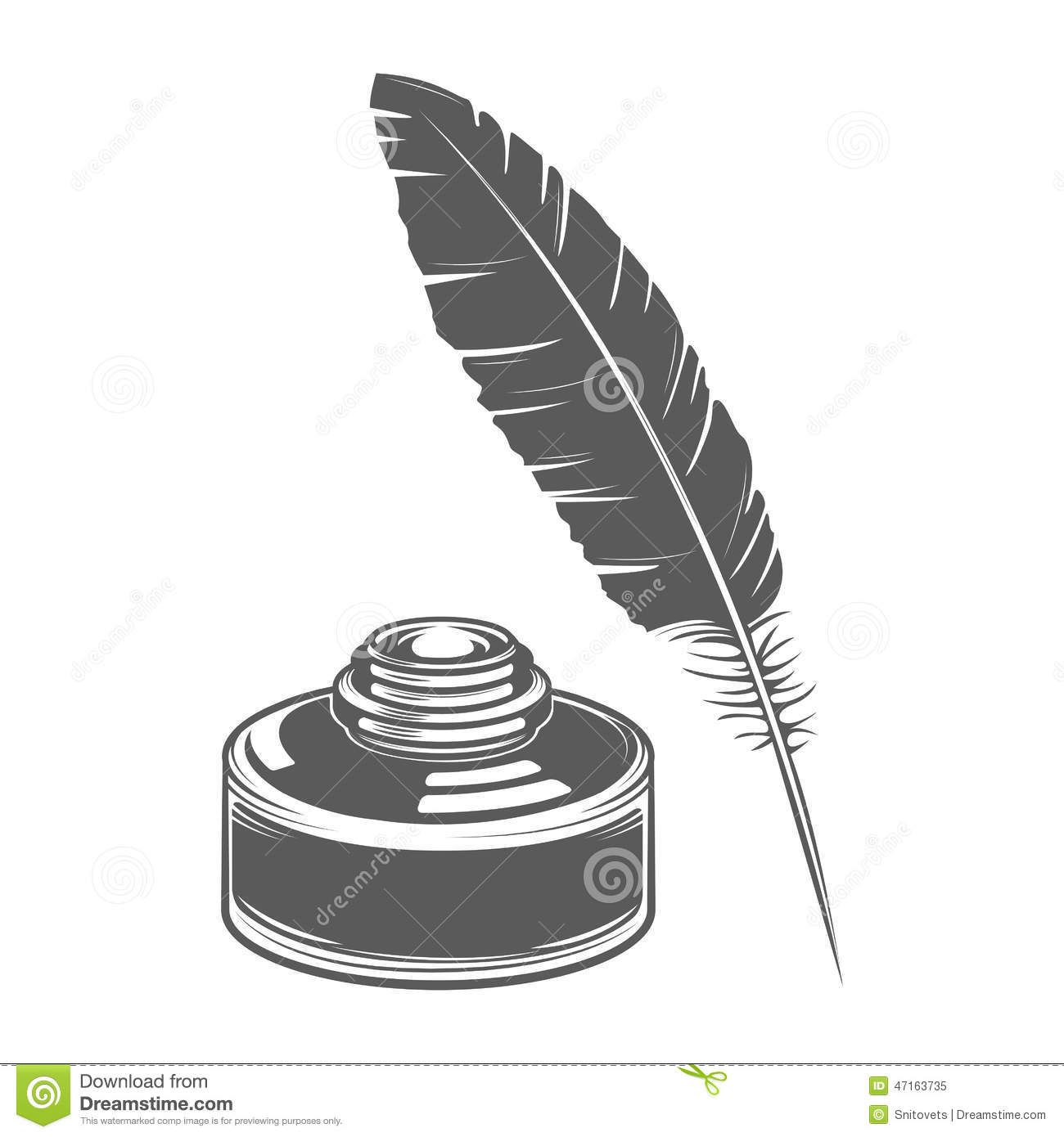 feather pen and ink isolated on white background