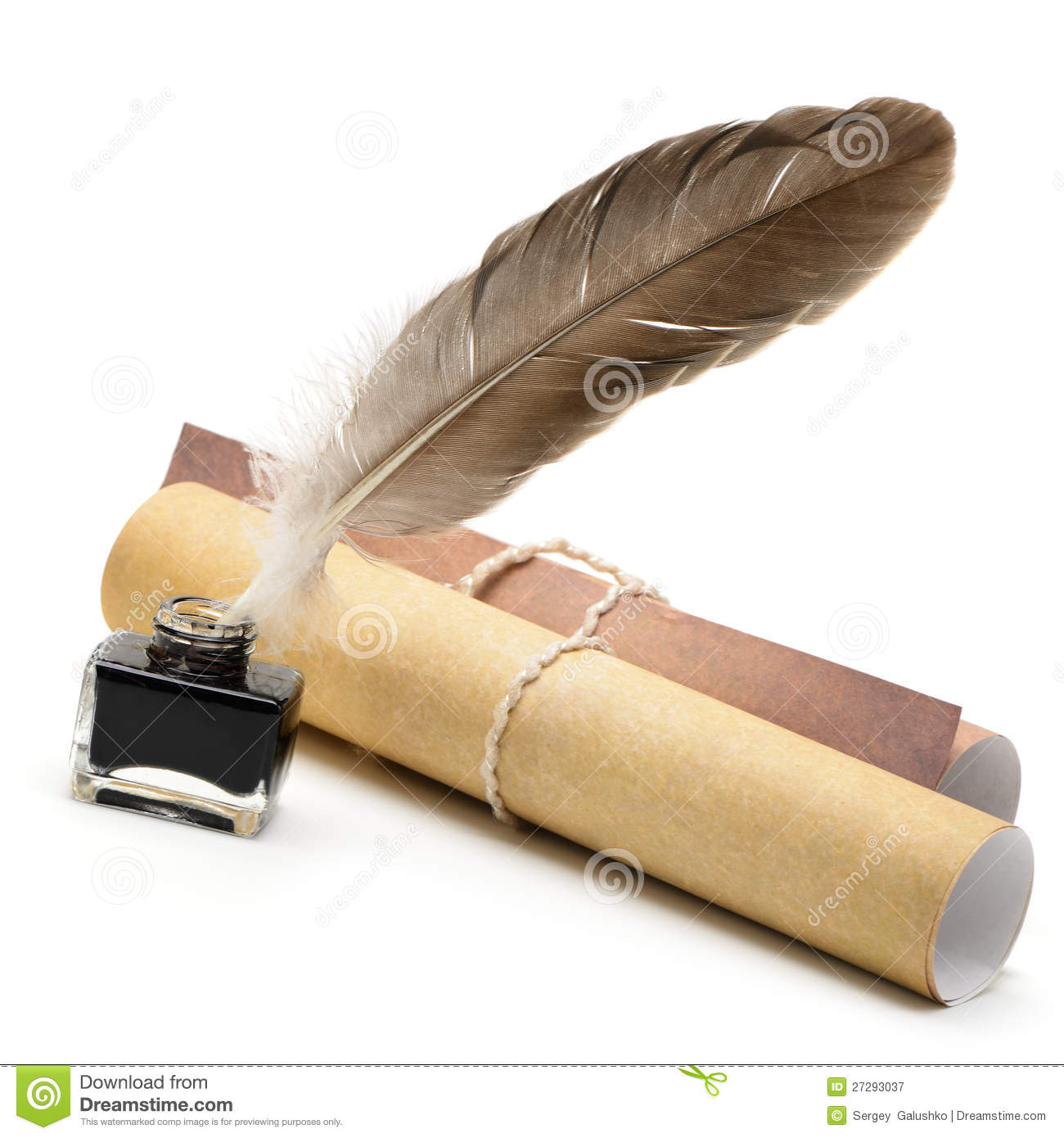 A Feather Pen, Ink,rolls Of Old Yellowed Paper Royalty ...