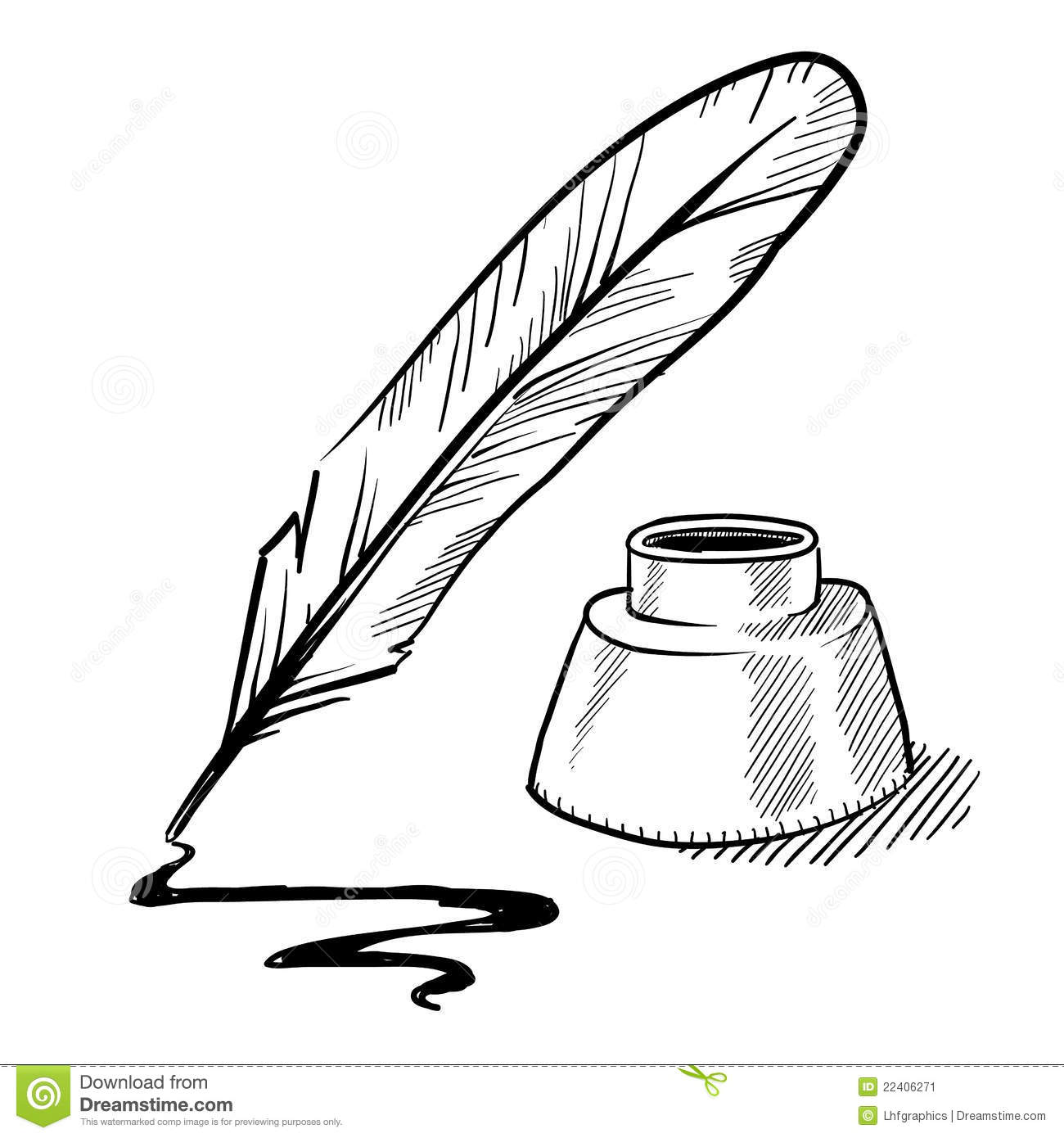 Feather Pen And Inkwell Drawing Stock Vector ...